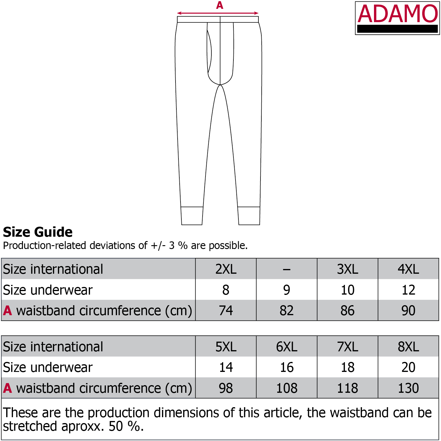 Size Chart Trousers